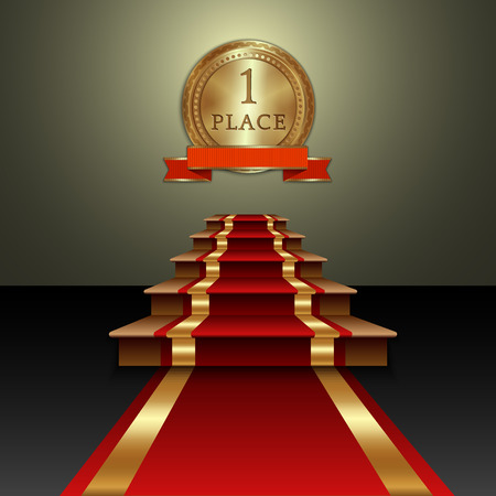 prestige: Vector abstract illustration of red carpet and first place gold medal