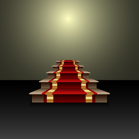 prestige: Vector abstract illustration of red carpet on the staircase
