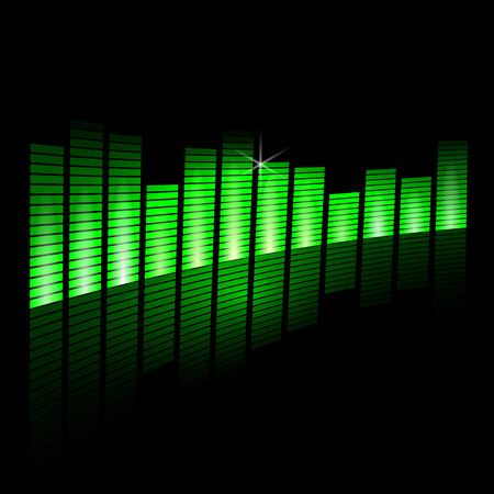 Vector illustration of music equalizer beam on black background Иллюстрация