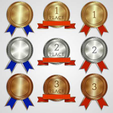 Vector set of metallic badges with ribbons  for the first, second, third place Vector