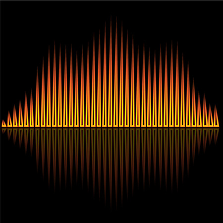 music background: Vector illustration of flame flare equalizer bars on black background