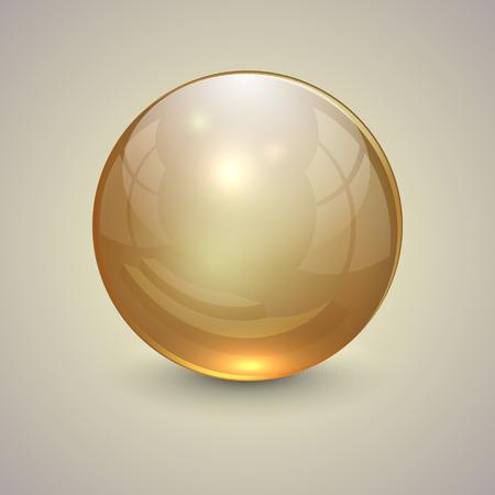 Vector illustratie van gouden transparante bol op lichte achtergrond Stock Illustratie