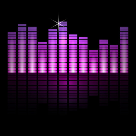 radio beams: Vector illustration of music equalizer bars on black background