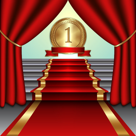 prestige: Vector abstract illustration of curtains, red carpet on staircase with  gold medal and ribbon