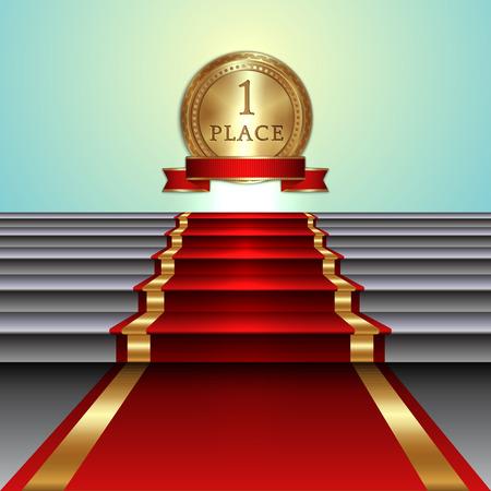 階段と黄金メダル リボンと明るい背景でレッド カーペットのベクトル抽象イラスト