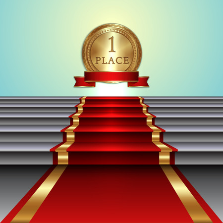 prestige: Vector abstract illustration of red carpet on staircase and golden medal with ribbon and light background