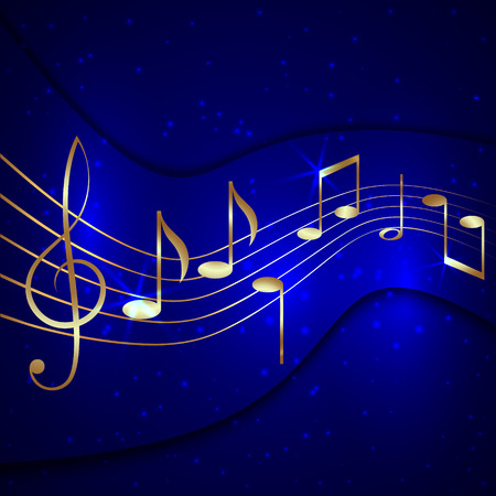 shiny metal background: Vector abstract blue musical background with golden notes stave and treble clef