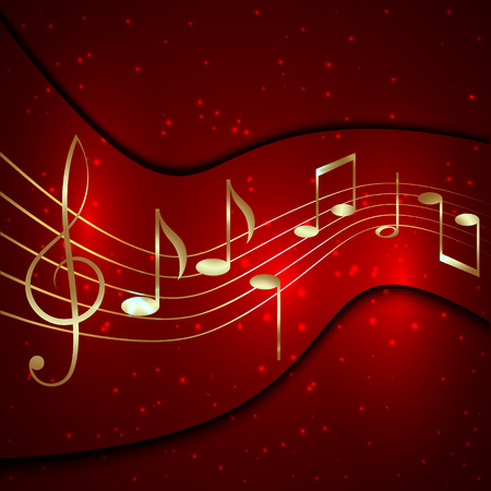minims: Vector abstract red musical background with golden notes stave and treble clef