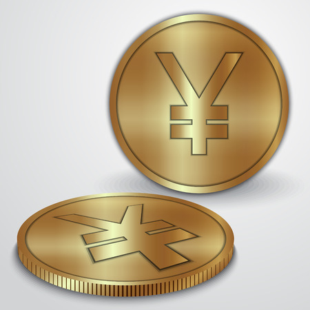japanese yen: Vector illustration of golden coins with Japanese Yen  JPY currency sign