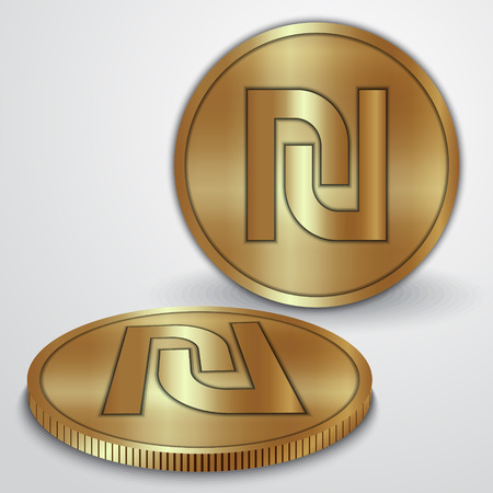 sheqel: illustration of gold coins with Israeli Sheqel currency sign Illustration