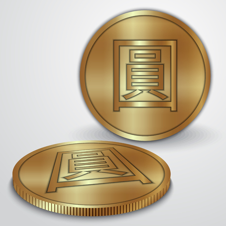 yan: illustration of gold coins with Chinese Yan currency sign