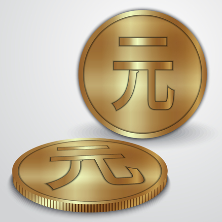 yan: Vector illustration of gold coins with Chinese Yan currency sign Illustration