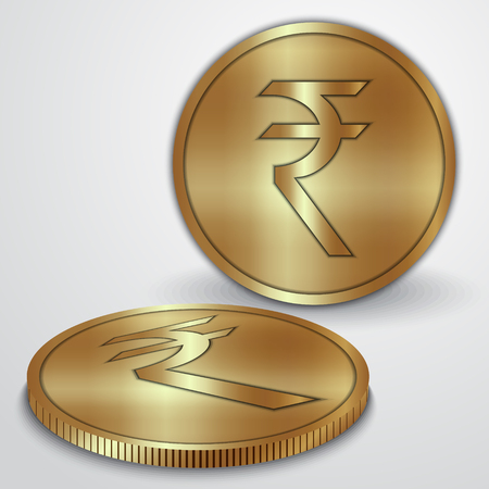rupee: illustration of gold coins with Indian Rupee currency sign Illustration