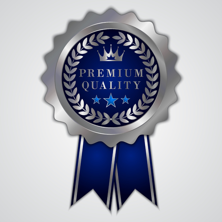 award badge: abstract round gold badge with ribbon and wreath Illustration