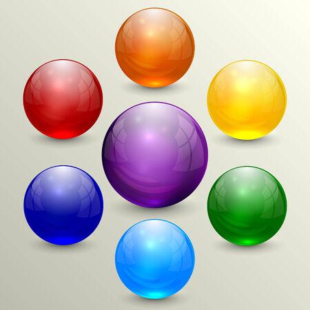 set of colorful crystal globes