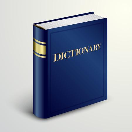 Vector blauwe woordenboek boek