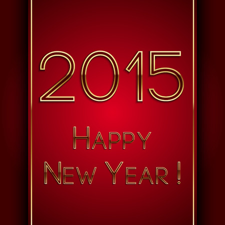 Vector rectangle red greeting new year 2015 postcard with golden letters Vector