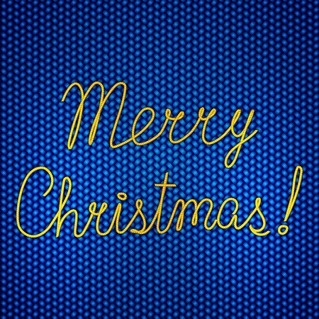 Vector abstract knitted blue background with yellow Merry Christmas embroidery Vettoriali