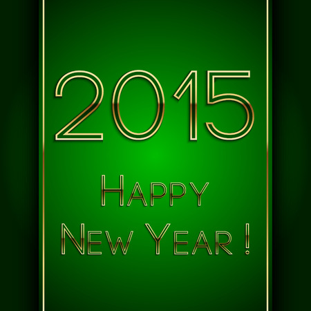 Vector rectangle green greeting new year 2015 postcard with golden letters