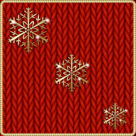Vector abstract knitted red background with yellow snowflake embroidery