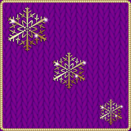 Vector abstract knitted pink background with yellow snowflake embroidery Vettoriali