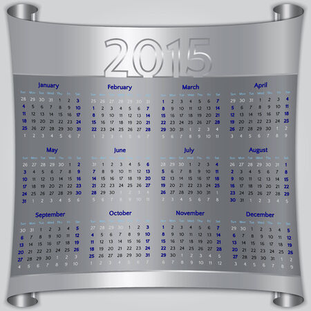 Calendar 2015 vector Sunday first american week 12 months silver metallic