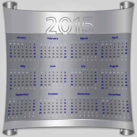 week: Calendar 2015 vector Sunday first american week 12 months silver metallic