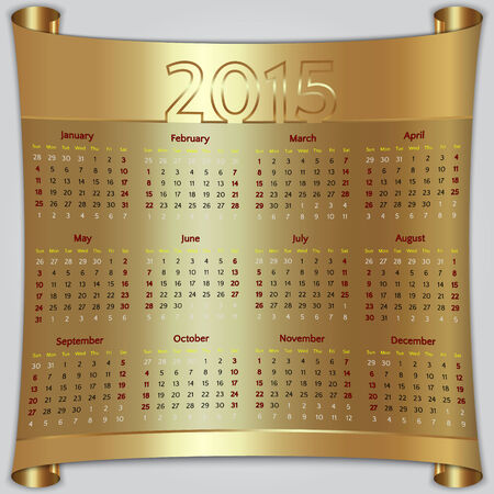 Calendar 2015 vector Sunday first american week 12 months golden metallic Ilustrace