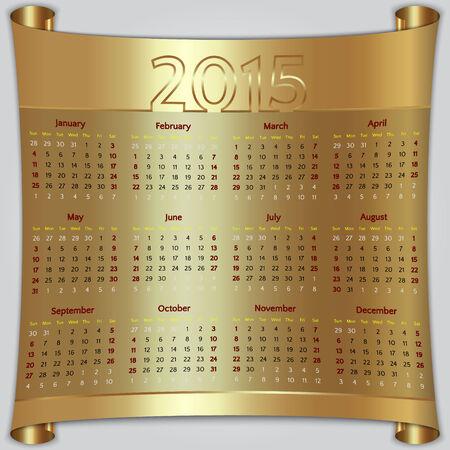 week: Calendar 2015 vector Sunday first american week 12 months golden metallic Illustration
