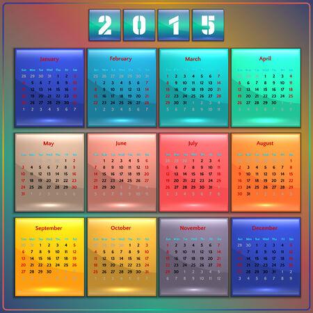 カレンダー 2015年ベクトル日曜日アメリカ人週 12 ヶ月虹の最初のシーズン  イラスト・ベクター素材