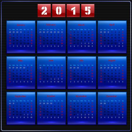 カレンダー 2015年日曜日アメリカの最初の週 12 ヶ月のブルー