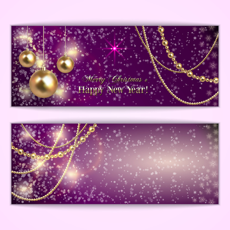 happy new year banner: Vector abstract purple Christmas and New Year Greeting or Invitation