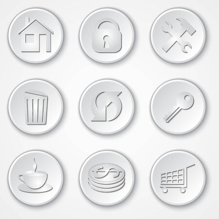 rubbish cart: Vector abstract round paper icon set
