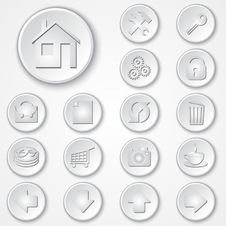 rubbish cart: Vector abstract white round paper icon set