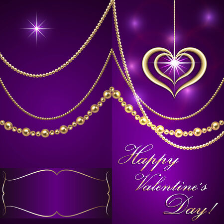saint valentine: Vector Saint Valentine lilac invitation card with hearts and golden jewelry Illustration