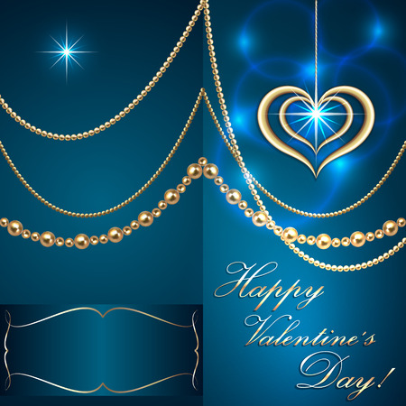 Vector Saint Valentine turquoise  invitation card with hearts and golden jewelry Vector