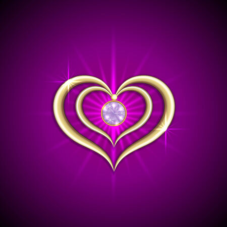 gemstone: Vector abstract bright purple background with golden hearts and gemstone Illustration