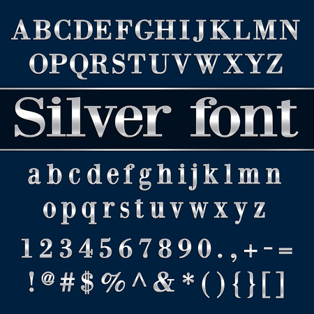 metallic: Vector silver coated alphabet letters and digits on blue background