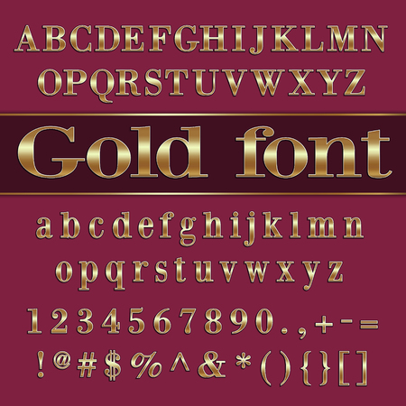 Vector gold coated alphabet letters and digits on purple background Stok Fotoğraf - 35319208