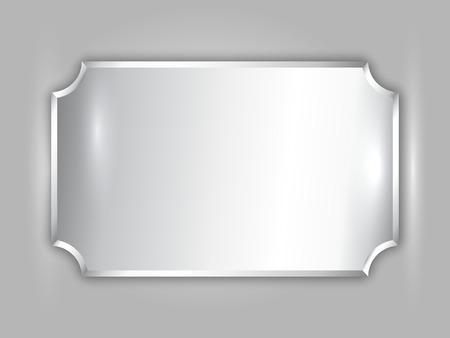 prata: Vector abstract precious metal silver award plate Ilustra��o
