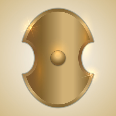 iron defense: Vector abstract illustration of old gold Greek shield