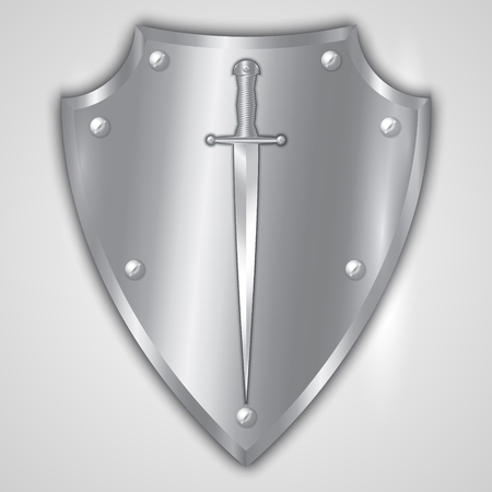 Vector abstract illustration of stainless steel shield