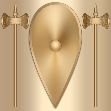 Vector abstract illustration of old gold Greek shield