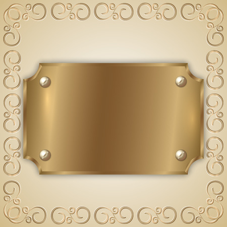 precious metal: Vector abstract precious metal golden award plate