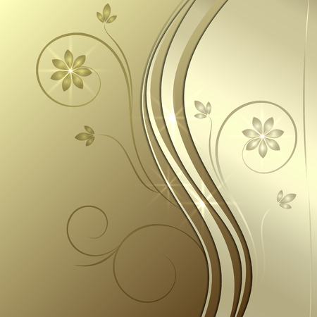 Vector abstract golden background with ornament and curve Illustration