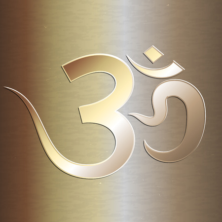 mantra: Vector abstract golden background with om mantra Illustration