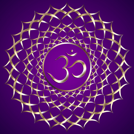 mantra: Vector abstract purple background with om mantra