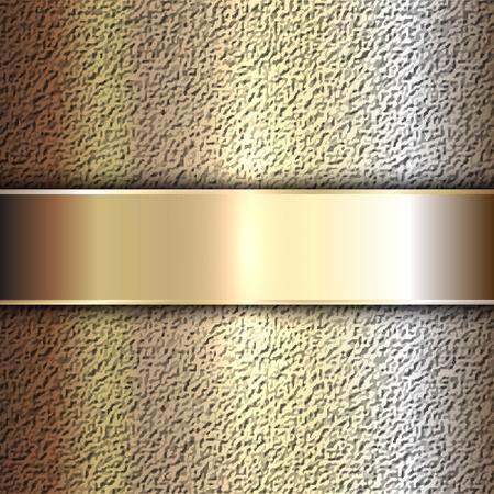 fondo de piedra: Vector metal precioso plato de oro sobre fondo de piedra