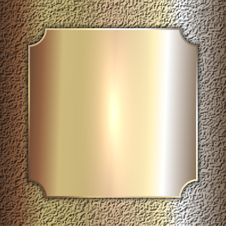 precious metal: Vector precious metal golden plate on stone background
