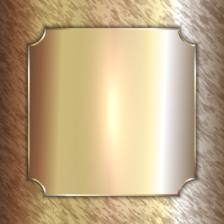 patina: Vector precious metal golden plate on patina background